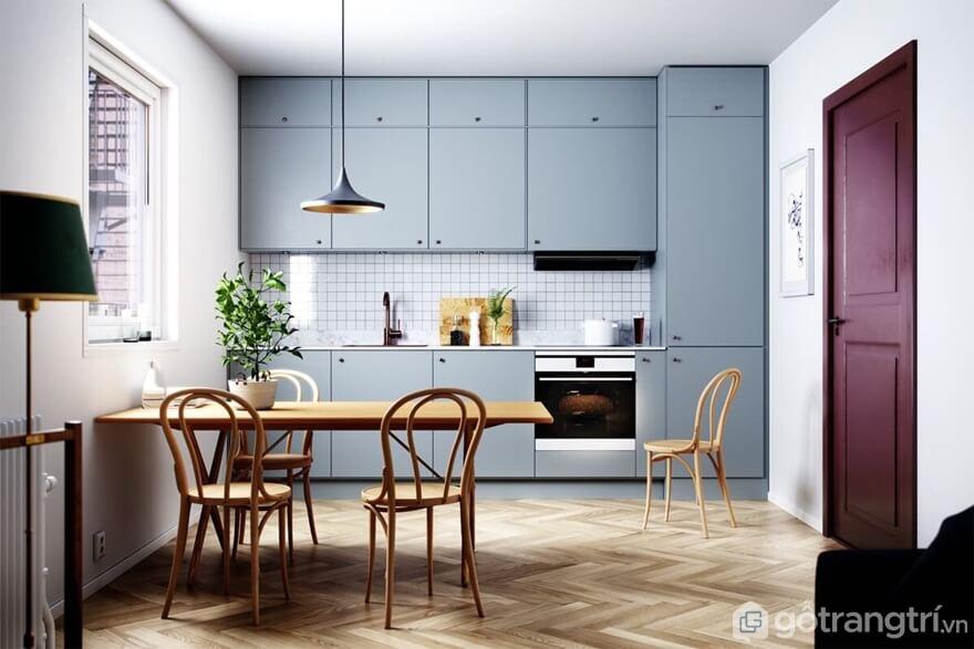 Mẫu 09: Phòng bếp nổi bật với gam trung tính - Ảnh: Internet