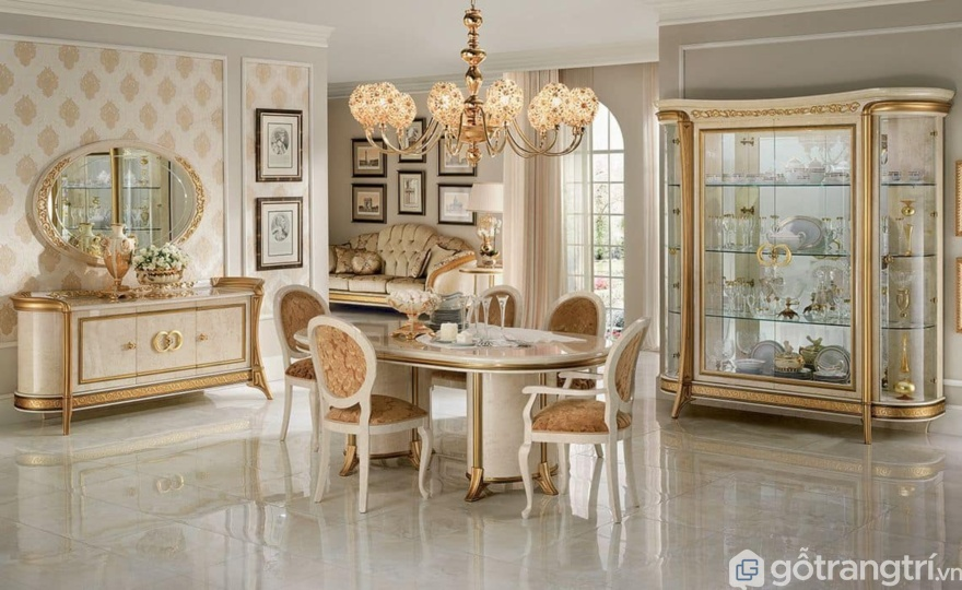 Mẫu bàn ăn tân cổ điển được thiết kế theo phong cách hoàng gia sang trọng - Ảnh: Internet