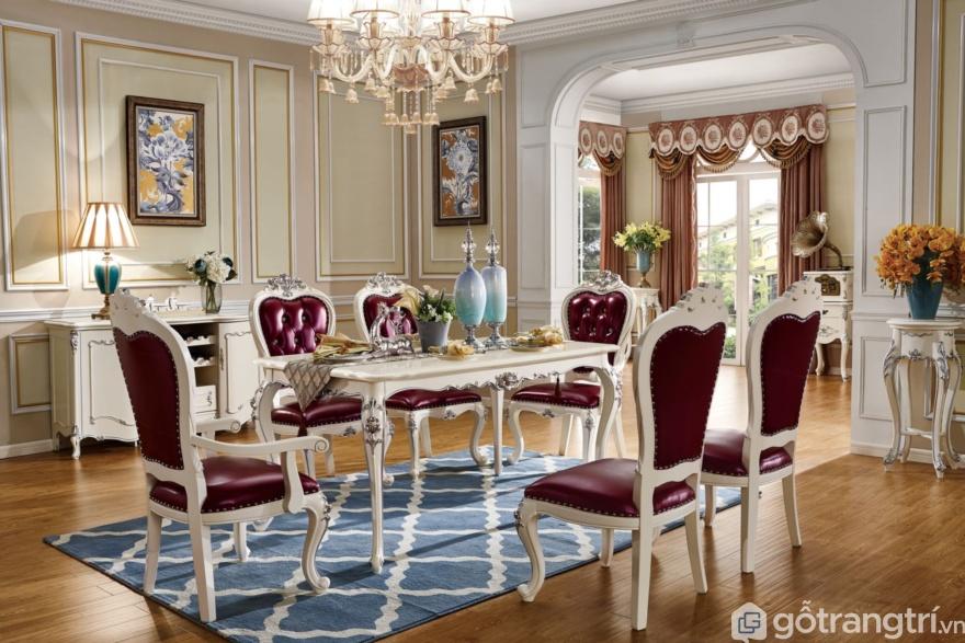 Mẫu bàn ăn tân cổ điển với bàn ăn 6 ghế được thiết kế mang nét đẹp sang chảnh, quý tộc nhìn rất quyến rũ - Ảnh: Internet