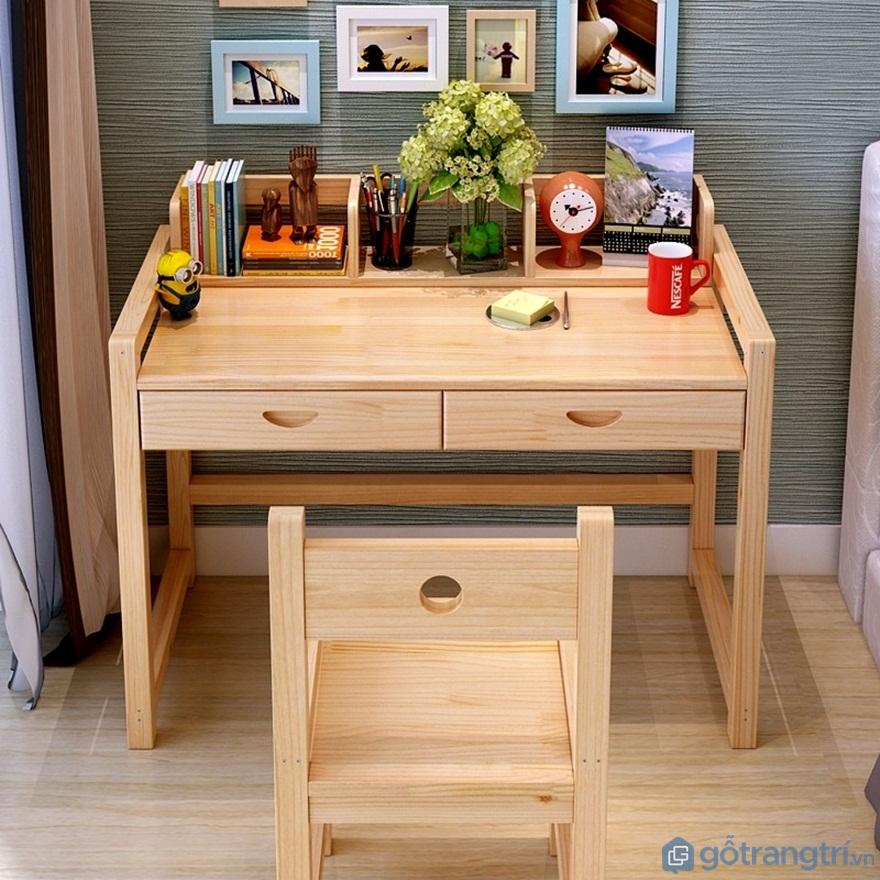 Mẫu bàn học sinh bằng gỗ đẹp cho bé - Mẫu 02 (Ảnh: Internet)