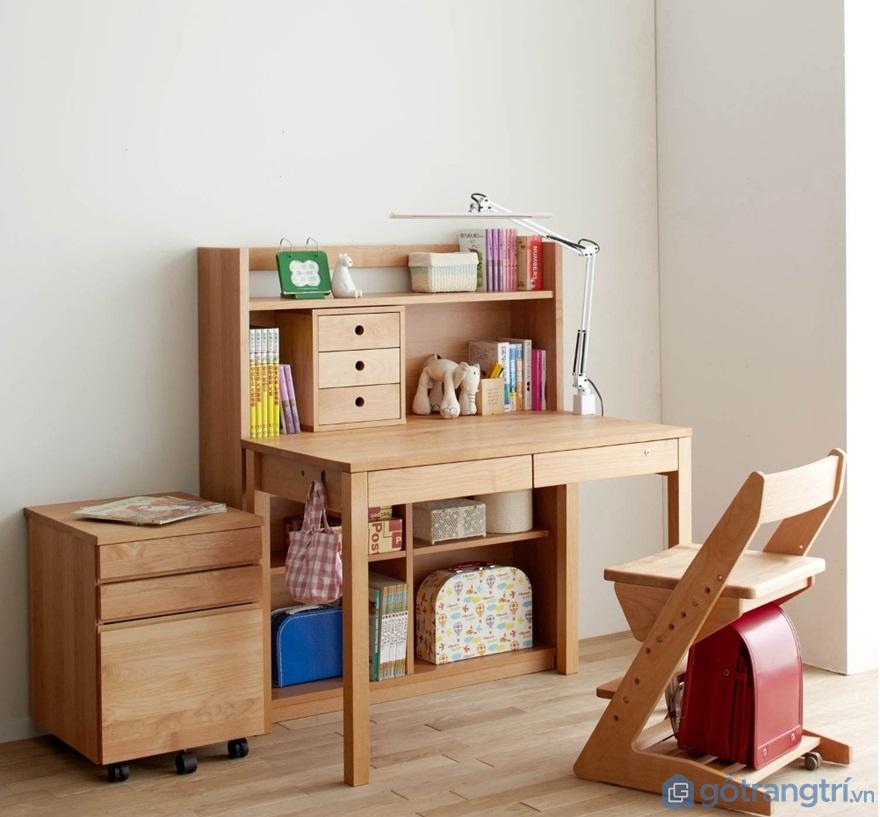 Mẫu bàn học sinh bằng gỗ đẹp cho bé - Mẫu 05 (Ảnh: Internet)