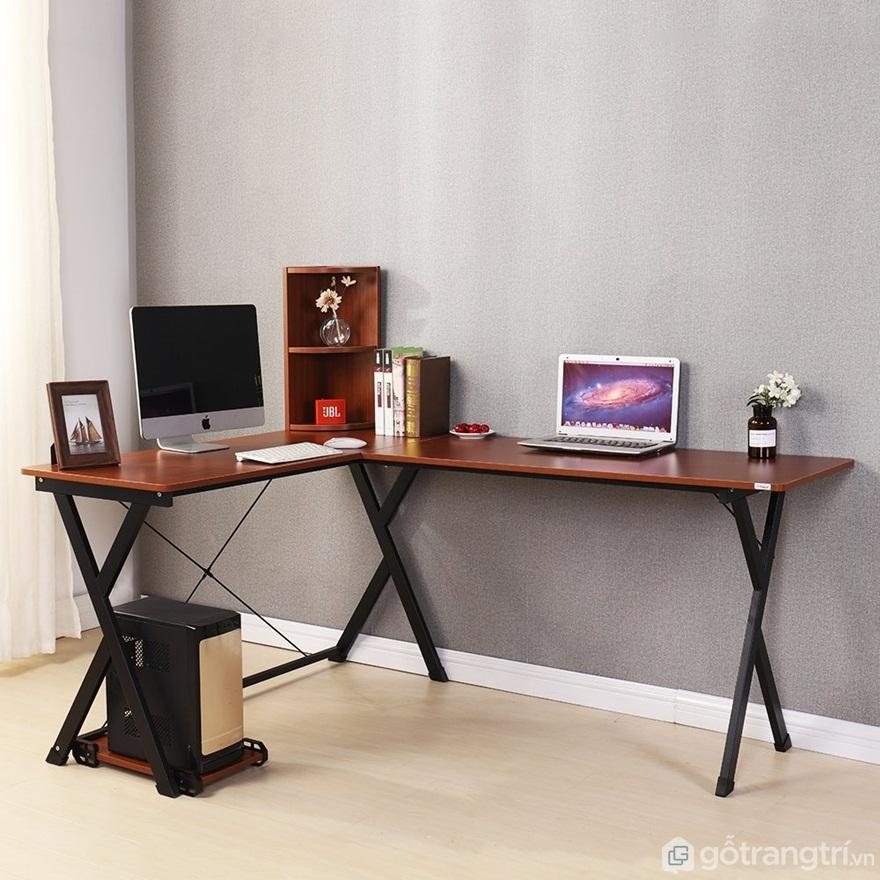Bàn học đôi chữ L được với mặt bàn được làm bằng gỗ, chân ghế bằng kim loại nhìn hiện đại, giản đơn - Ảnh: Internet