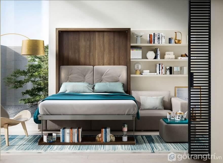 Giường gấp đa năng kết hợp với tủ sách - Ảnh: Internet