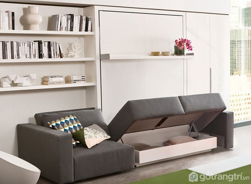 Giường gấp kết hợp với ghế sofa - Ảnh: Internet