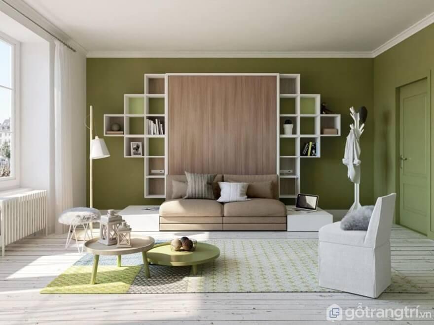 Giường gấp bằng gỗ tích hợp tủ đựng đồ - Ảnh: Internet