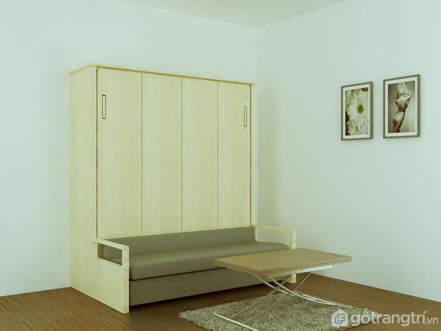 Cấu tạo giường gấp bằng gỗ đa năng - Ảnh: Internet