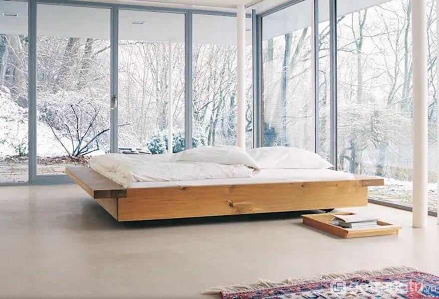 Kiểu giường đơn giản, không có vách gỗ đầu giường - Ảnh: Internet