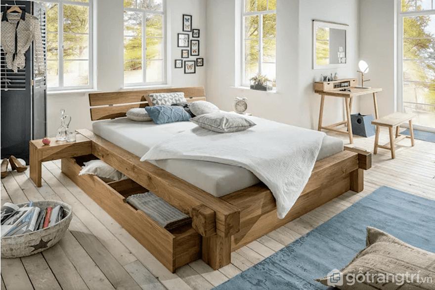 Giường gỗ đơn giản làm từ gỗ công nghiệp - Ảnh: Internet