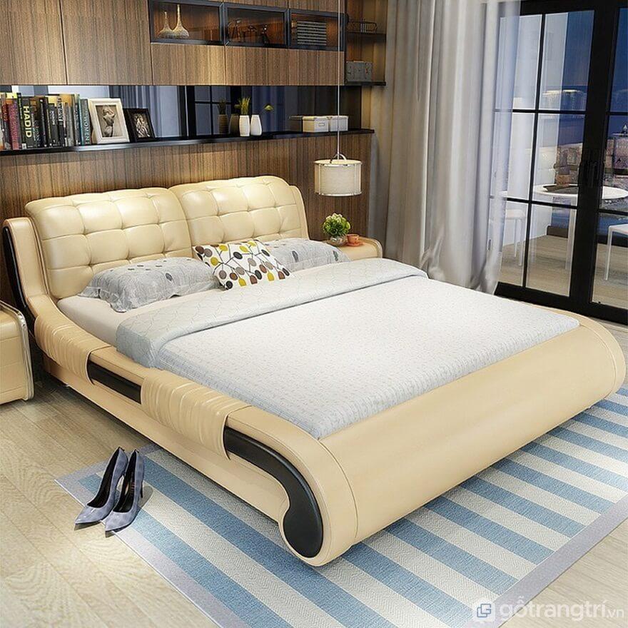Giường ngủ đơn giản bọc da - Ảnh: Internet