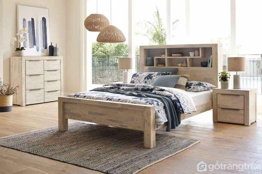 Giường ngủ kiểu Hàn Quốc được thiết kế phần đầu giường giống dạng tủ kệ - Ảnh: Internet