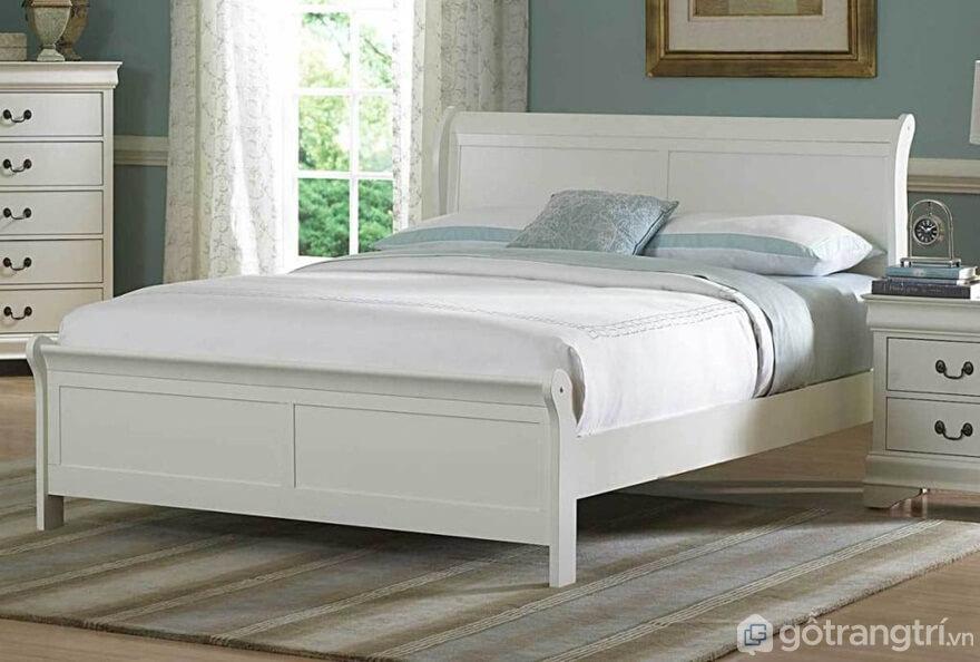 Mẫu giường ngủ Hàn Quốc được phủ sơn màu trắng tinh - Ảnh: Internet