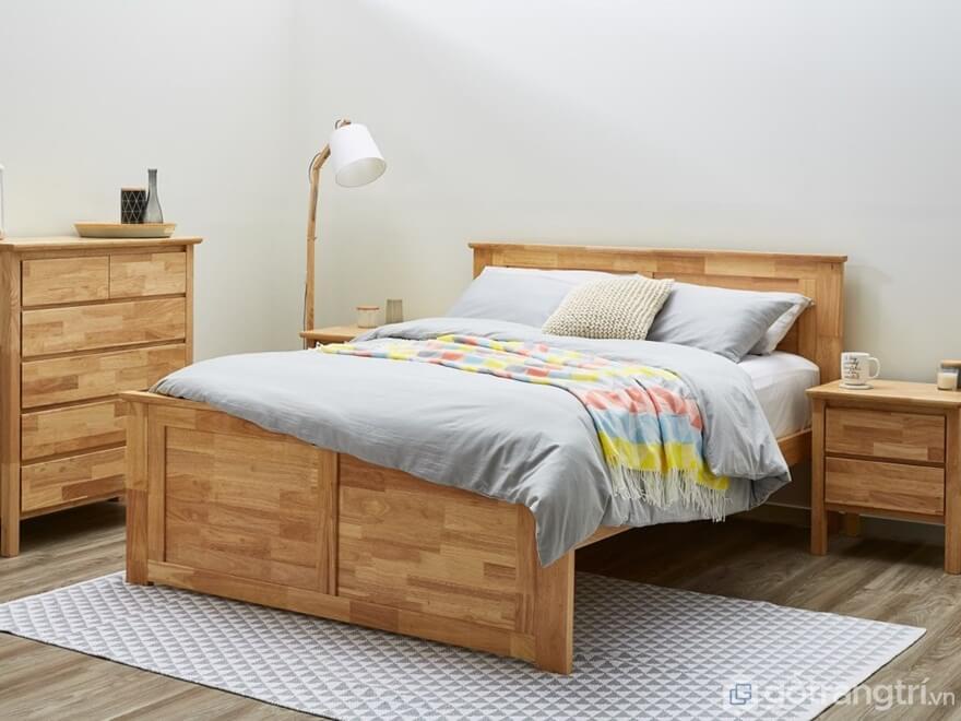 Mẫu giường ngủ Hàn Quốc với phần gỗ ghép sáng màu nhìn khá tự nhiên - Ảnh: Internet