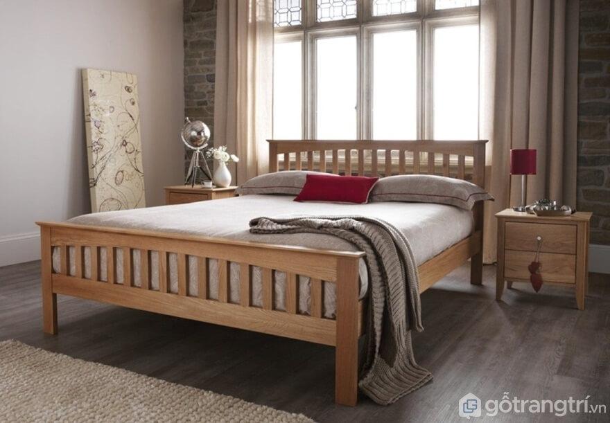 Giường ngủ kiểu Hàn Quốc làm bằng chất liệu gỗ tự nhiên với thiết kế đơn giản, màu sắc vàng tươi - Ảnh: Internet