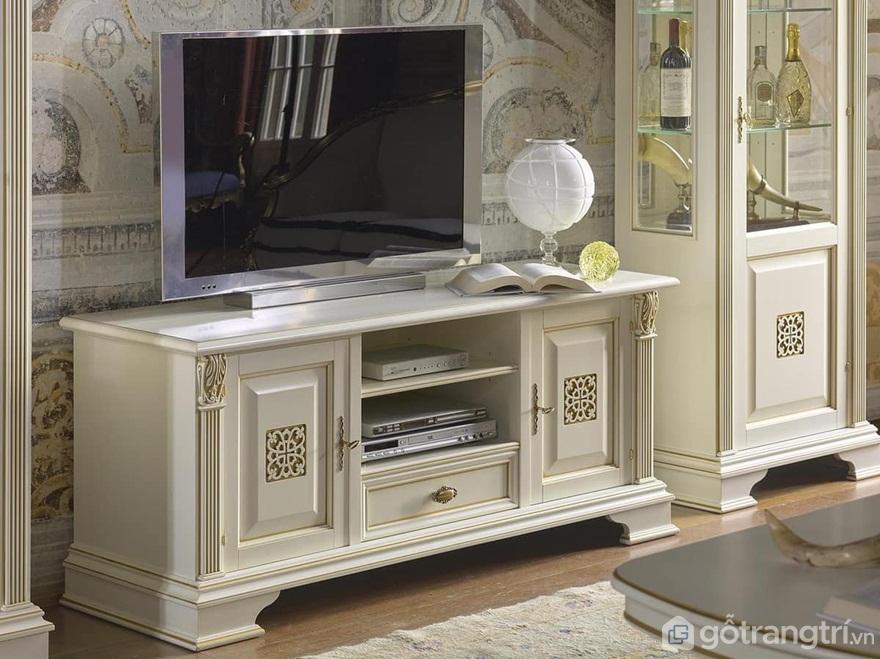 Kệ tivi đẹp 3 tầng phong cách cổ điển - Ảnh: Internet