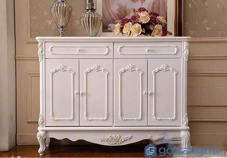 Tủ giày tân cổ điển màu trắng đường nét mềm mại