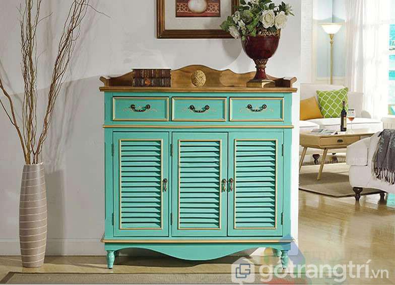 Tủ giầy tân cổ điển màu xanh gỗ công nghiệp