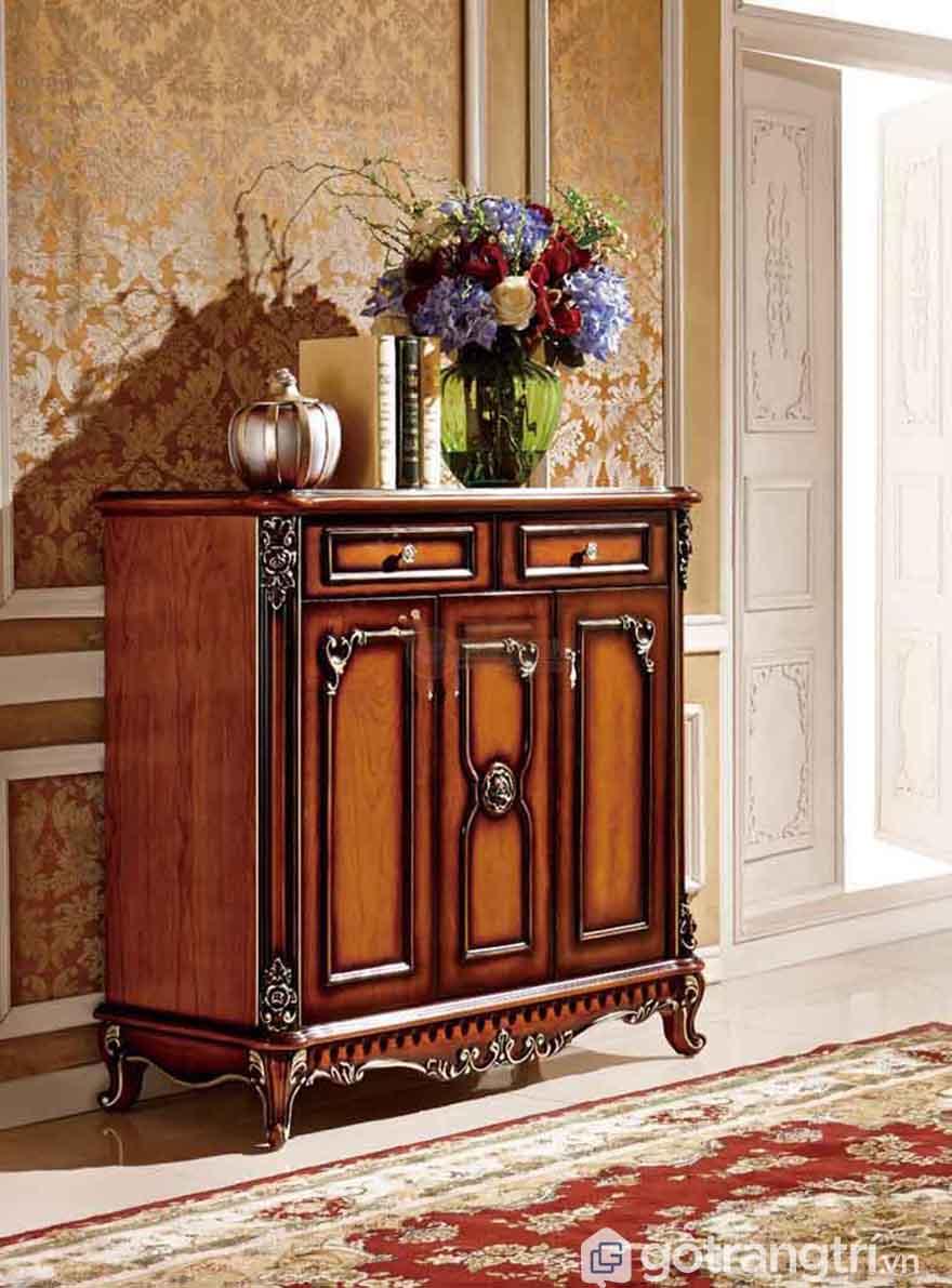 Tủ giầy gỗ phong cách tân cổ điển