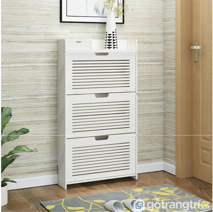 tủ giầy 3 tầng gỗ sồi màu trắng