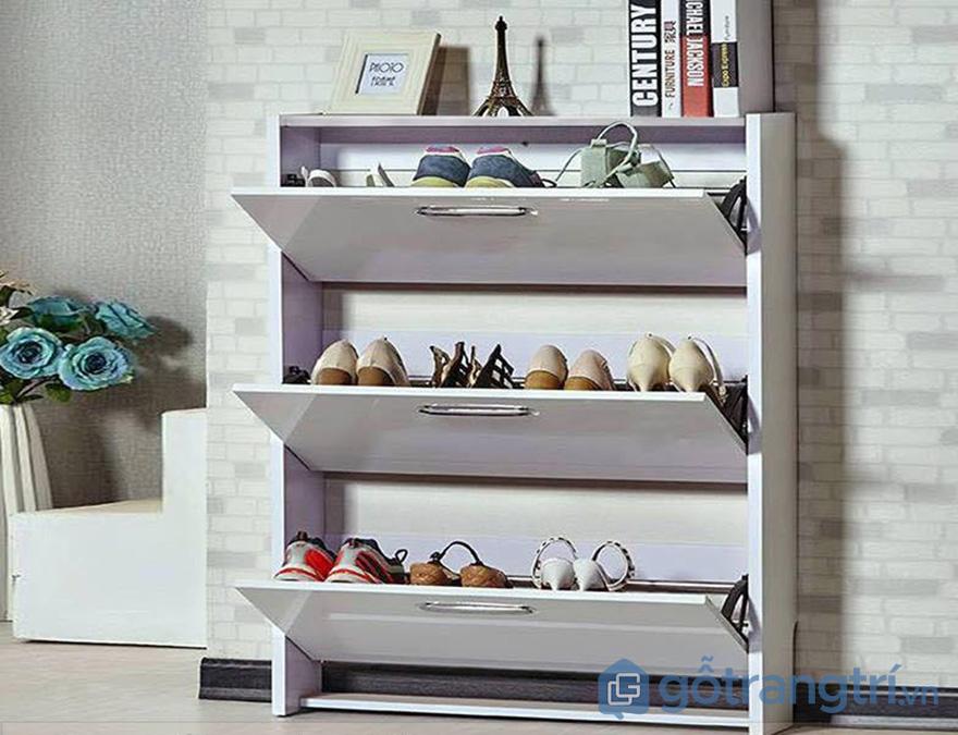tủ giày 3 tầng màu trắng cánh lật