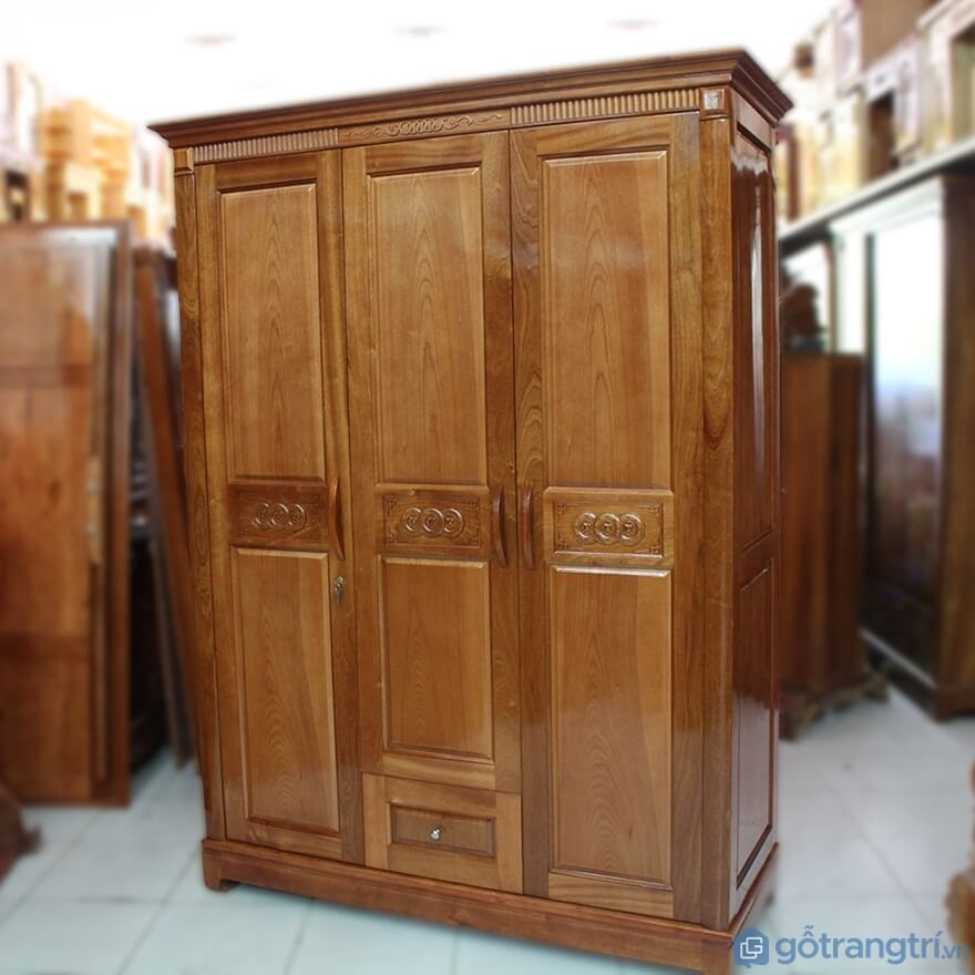 Tủ quần áo 3 buồng gỗ sồi - Ảnh: Internet