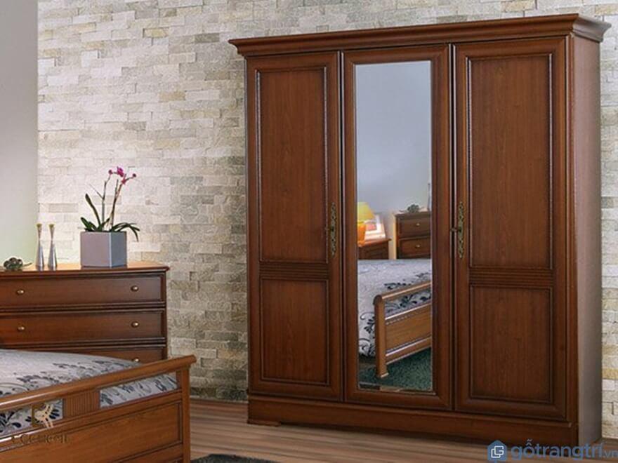 Tủ quần áo 3 buồng gỗ tự nhiên - Mẫu 04 (Ảnh: Internet)
