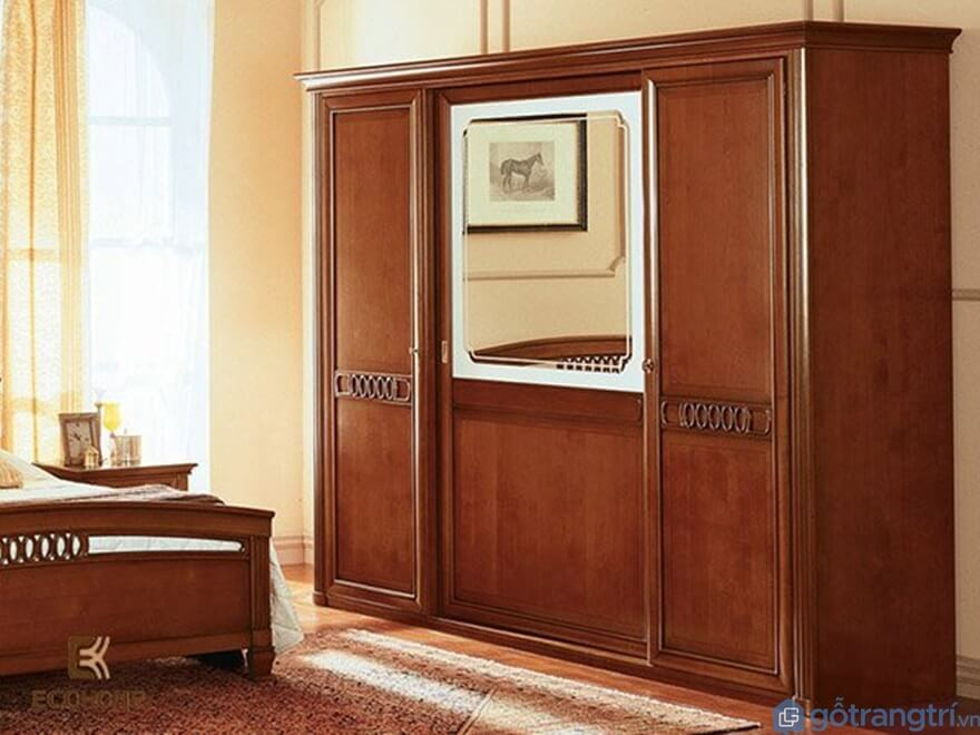 Tủ quần áo 3 buồng gỗ tự nhiên - Mẫu 05 (Ảnh: Internet)