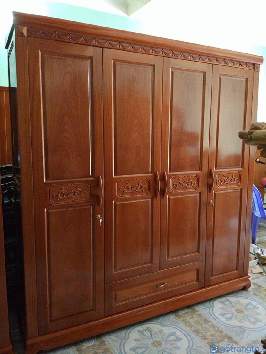 Tủ quần áo 3 buồng gỗ tự nhiên - Mẫu 06 (Ảnh: Internet)