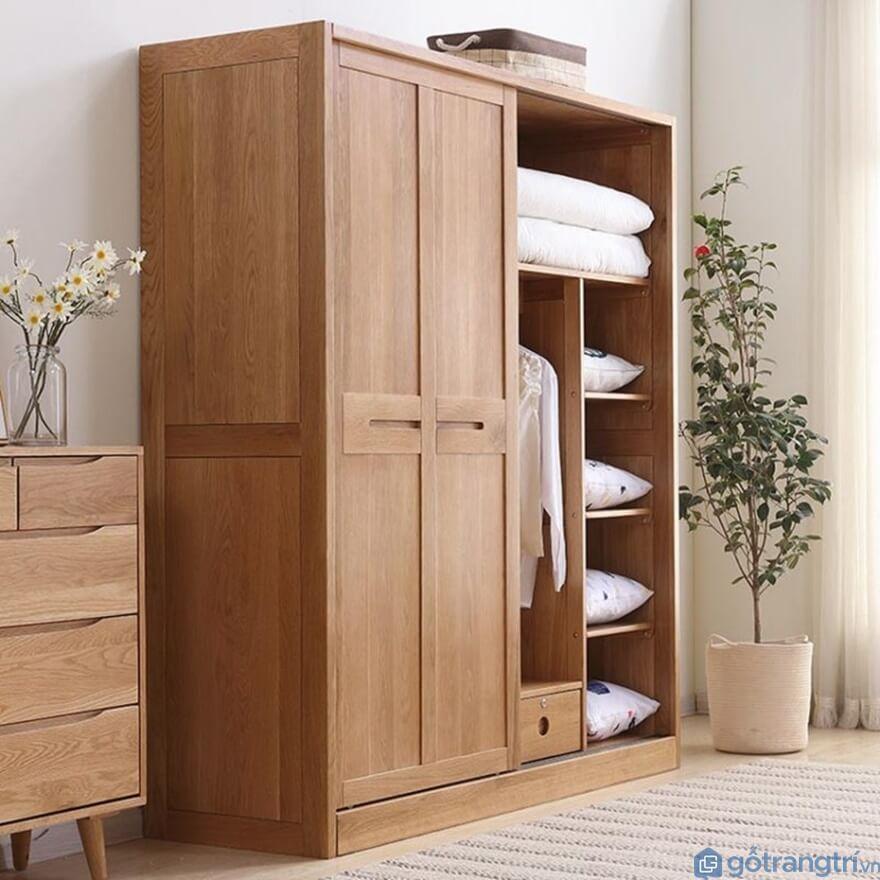 Tủ quần áo 3 buồng gỗ tự nhiên - Mẫu 07 (Ảnh: Internet)