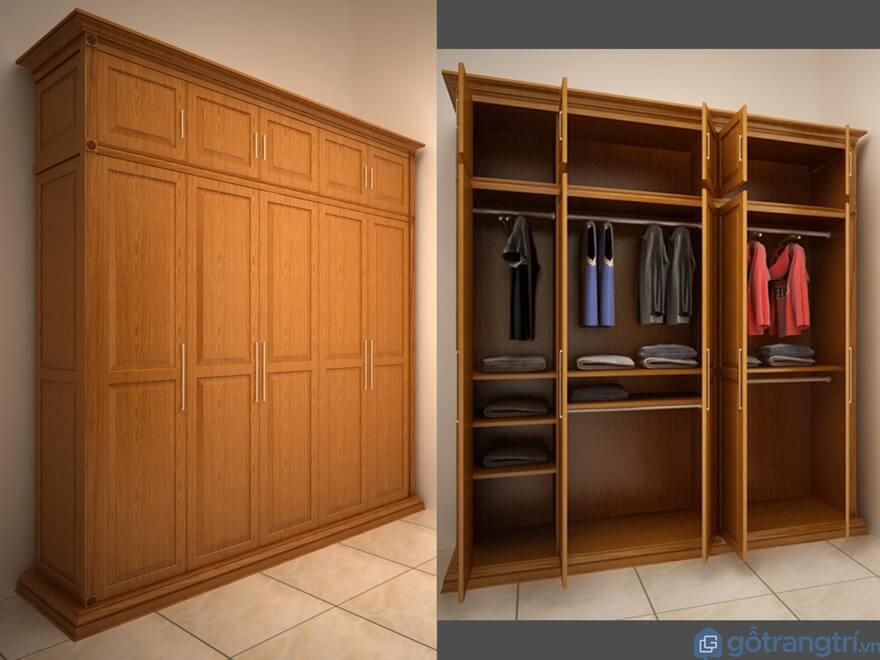 Tủ quần áo 3 buồng gỗ tự nhiên - Mẫu 08 (Ảnh: Internet)