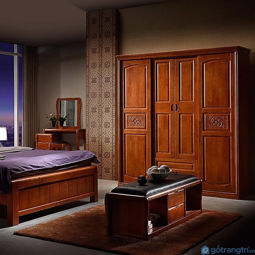 Tủ quần áo 3 buồng gỗ tự nhiên - Mẫu 01 (Ảnh: Internet)