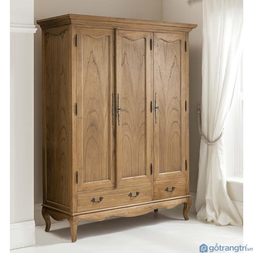 Tủ quần áo 3 buồng gỗ tự nhiên - Mẫu 02 (Ảnh: Internet)