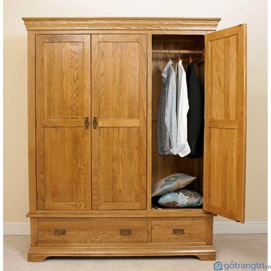 Tủ quần áo 3 buồng gỗ tự nhiên - Mẫu 03 (Ảnh: Internet)