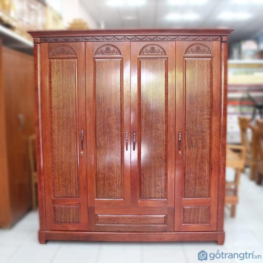 Tủ quần áo 4 cánh gỗ tự nhiên - Ảnh: Internet