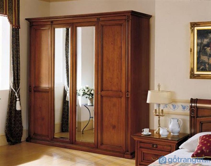Tủ quần áo làm bằng gỗ tự nhiên có gương - Ảnh: Internet