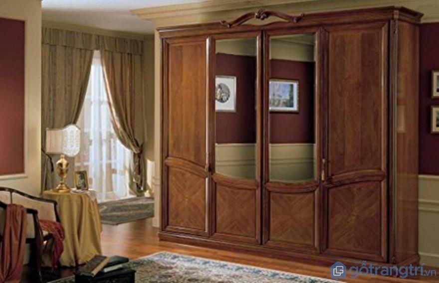 Tủ quần áo có gương làm bằng gỗ tự nhiên 4 cánh - Ảnh: Internet