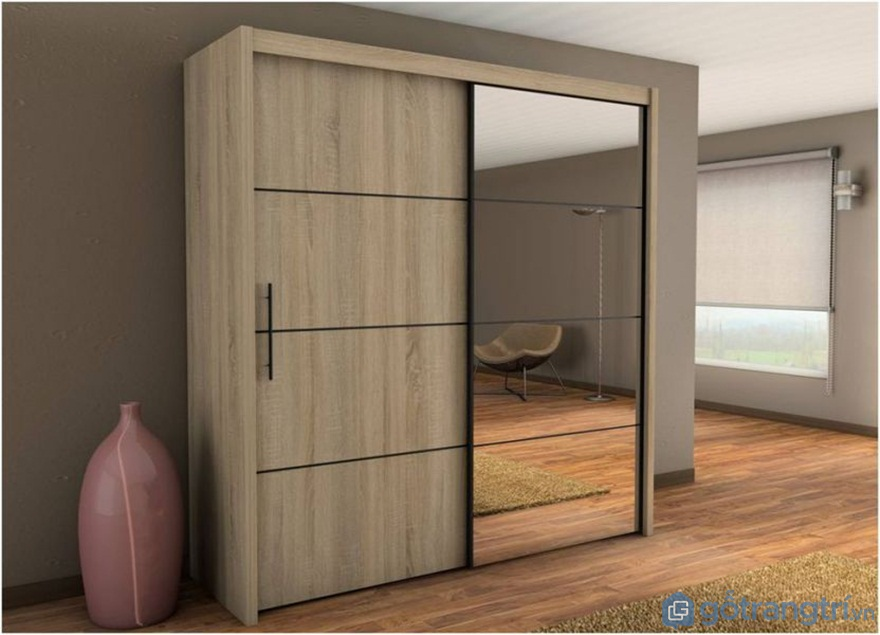 Tủ quần áo cửa lùacó gương 2 cánh hiện đại - Ảnh: Internet