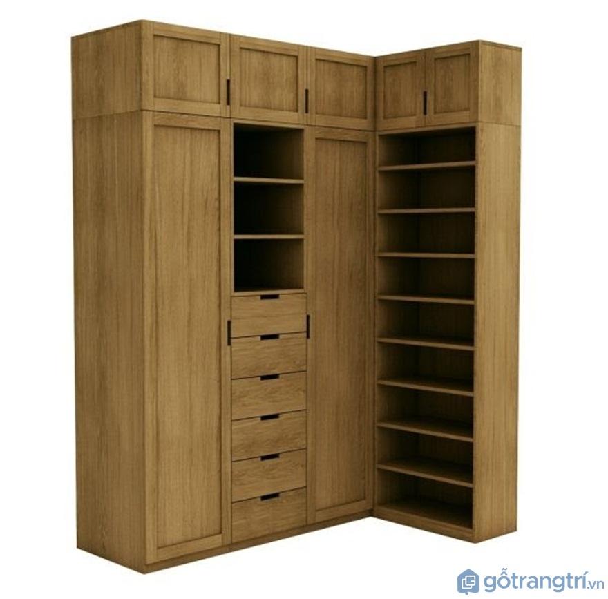 Tủ quần áo hình chữ L đẹp - Mẫu 01 (Ảnh: Internet)