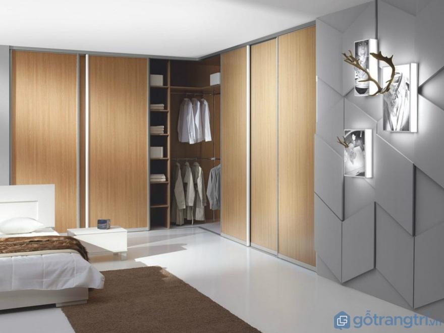Tủ quần áo hình chữ L đẹp - Mẫu 06 (Ảnh: Internet)