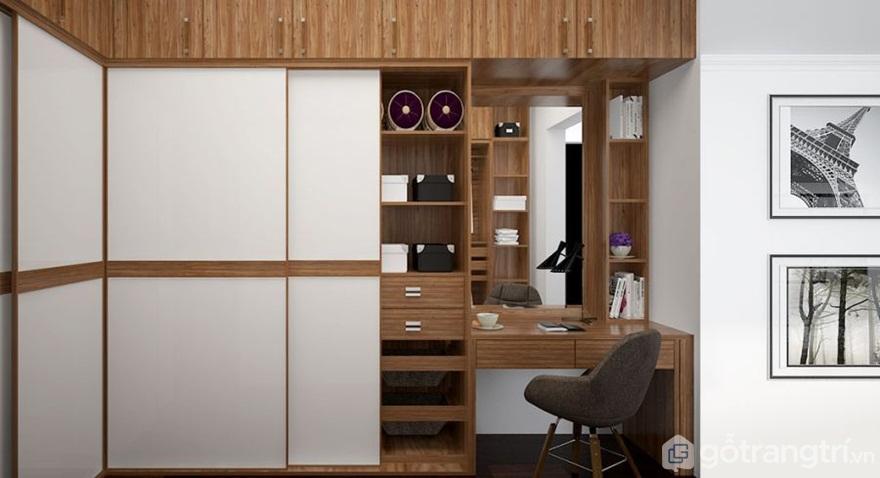 Tủ quần áo đa năng thông minh kết hợp kệ đựng đồ và bàn học - Mẫu 05 (Ảnh: Internet)
