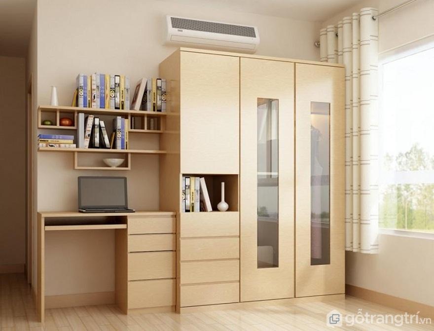 Tủ quần áo đa năng thông minh gỗ tự nhiên - Mẫu 01 (Ảnh: Internet)