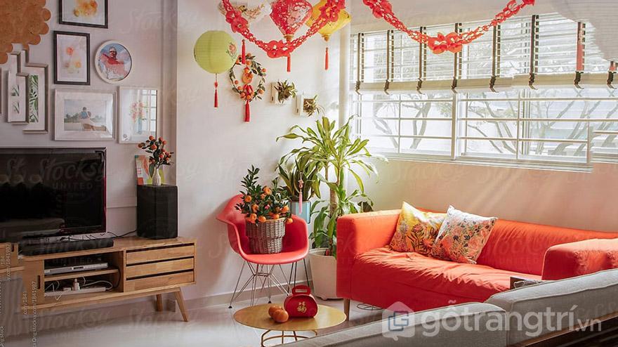 trang trí phòng khách ngày tết
