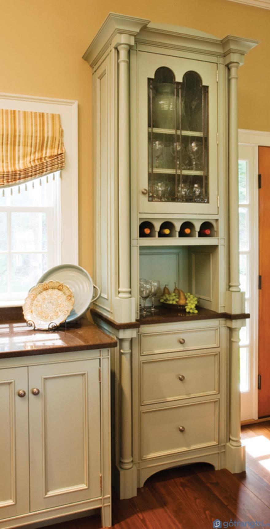 Tủ bếp phong cách tân cổ điển trệt nhỏ - Mẫu 05 (Ảnh: Internet)