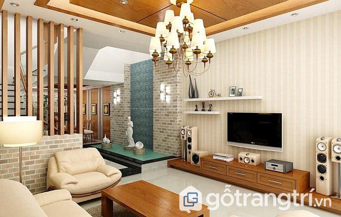 Vách ngăn gỗ cho phòng khách hiện đại