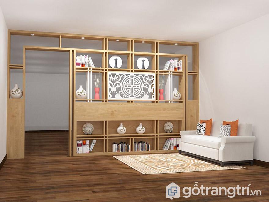 vách ngăn bằng gỗ đẹp cho phòng khách