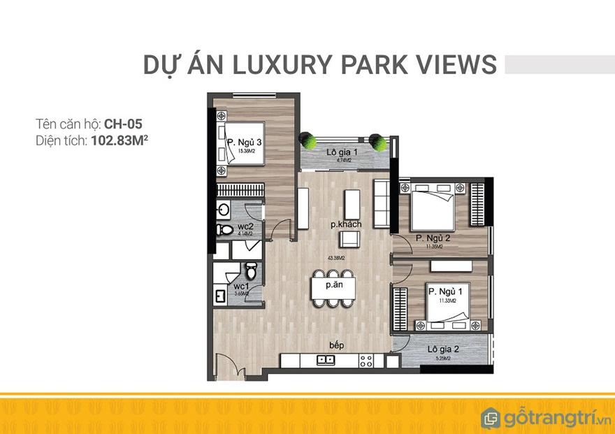 Thiết kế nội thất căn hộ 3 phòng ngủ Luxury Park Views với diện tích 102.83 m2