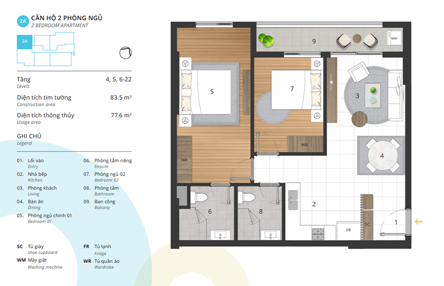Thiết kế nội thất căn hộ 2 phòng ngủ tại Kosmo