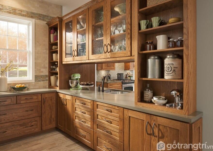 Tủ bếp gỗ sồi Mỹ thiết kế rất sang trọng - Ảnh: Internet