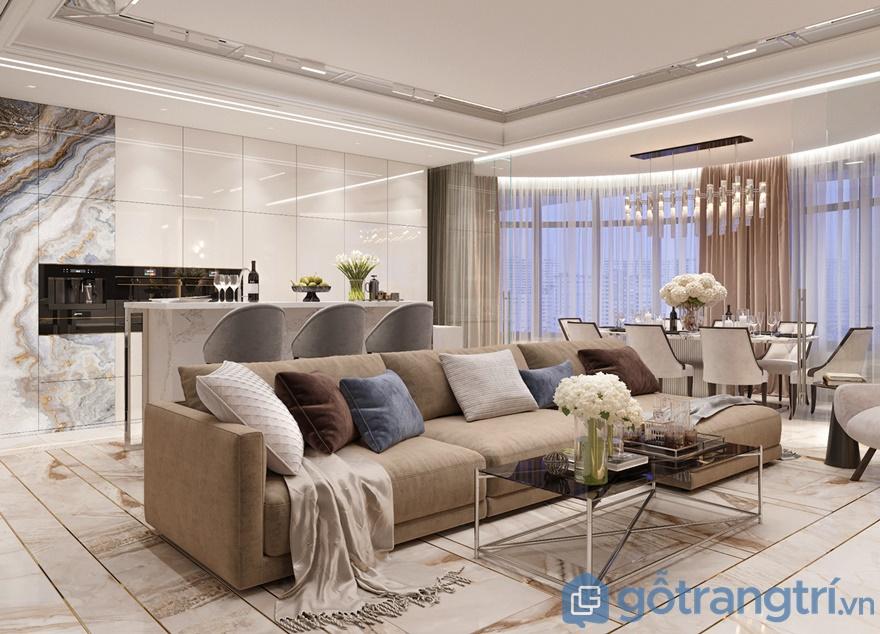 Sử dụng gam màu nhã nhặn, tươi sáng, phòng khách toát lên vẻ đẹp tinh tế, hiện đại