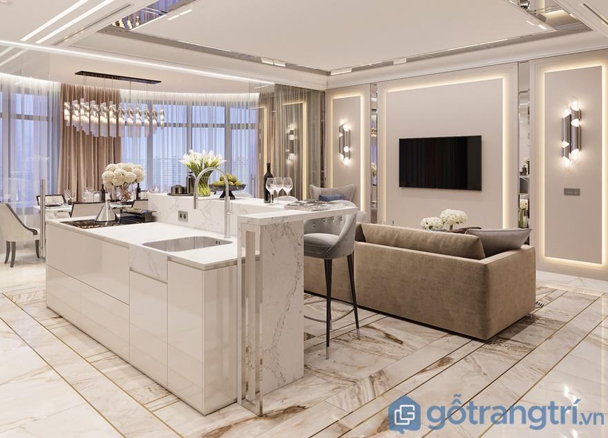 Bếp ăn được thiết kế liền kề với phòng khách và phòng ăn