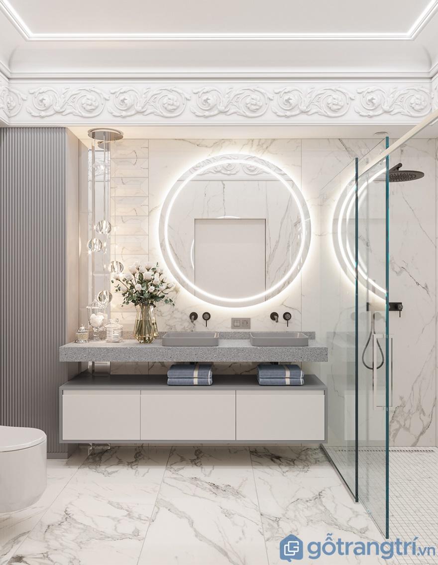 Chiết gương treo tường tích hợp hệ thống đèn led chiếu sáng mang đến cái nhìn lạ lẫm, cuốn hút cho phòng tắm